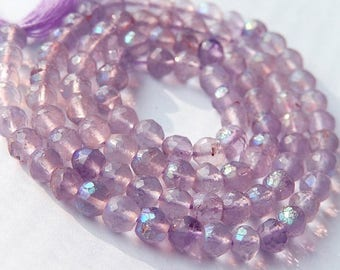 Pink Amethyst Gemstone.  Faceted Rondelles, 4 to 5mm. Semi Precious Gemstone. Strand, Your Choice. (7pam1)