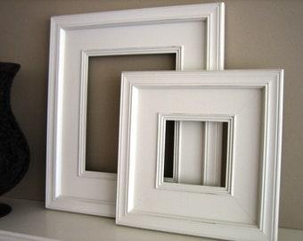 Sizes 4x4 to 8x8 Wood Picture Frame / Plein Air Style / Black, White, Gray, Brown