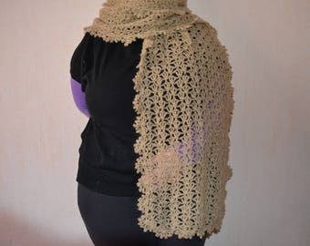 Very large shawl crocheted camel color