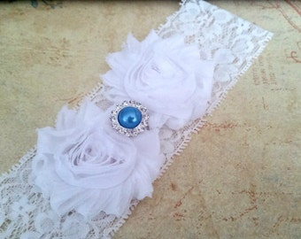 White Bridal Garter,  Something Blue Stretch Lace Garter, Keepsake Garter, Wedding Garter,  Bridal Garter