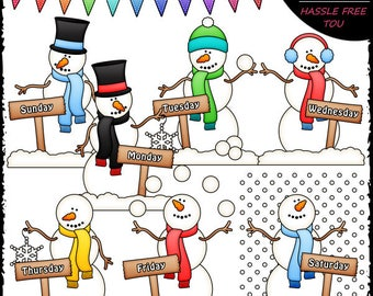 Days of The Week Snowmen Clip Art and B&W Set