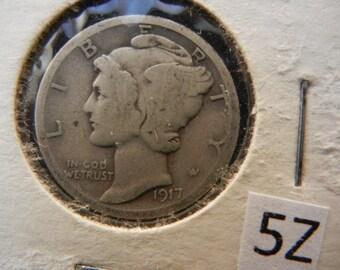 1917D Mercury Dime