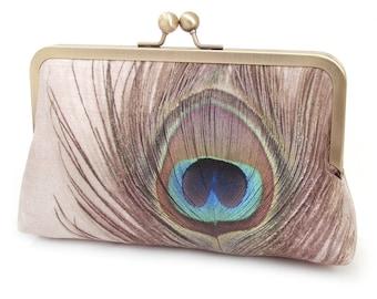 Peacock clutch purse, peacock feather bag, bridesmaid gift, printed silk, gift box, teal peacock wedding