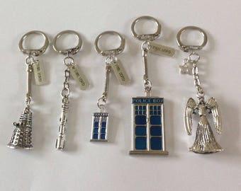 Dr Who key-rings, tardis, sonic screwdriver, dalek, weeping angel