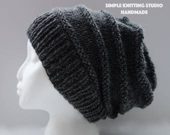 Fashionable Slouchy Hat    Knit Hat, Beanie Hat, Slouchy Beanie  (Color: Dark Gray)