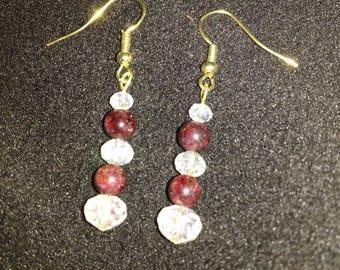 Classy Garnet & Crystal Earrings
