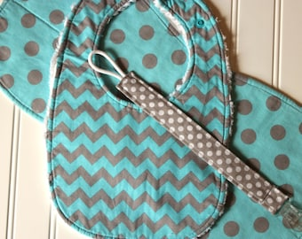 Baby Gift Set - Aqua and Gray Chevron and Dots - Bib, Burp Cloth, Pacifier Clip - Infant Gift Set, Baby Shower Gift