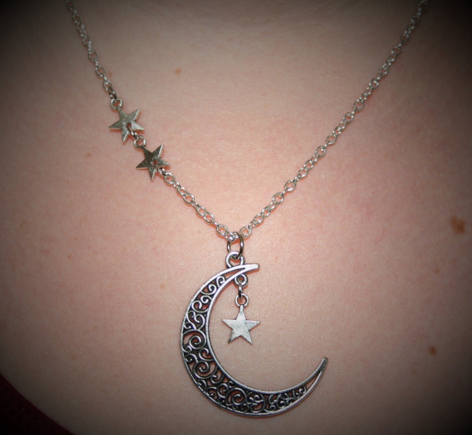 Moon and star necklace star dangle necklace moon and star jewelry moon and star necklace star dangle necklace moon and star jewelry silver tribal celtic moon night sky jewelry moon pendant wicca star aloadofball Image collections