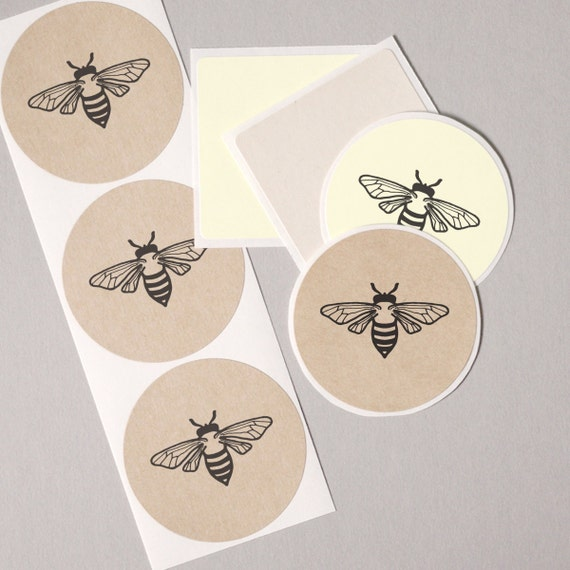 Envelope seals hand drawn vintage bumble bee round label stickers 20 medium 2 white cream brown kraft gift wrap seals goody bag stuffers from labelstickers