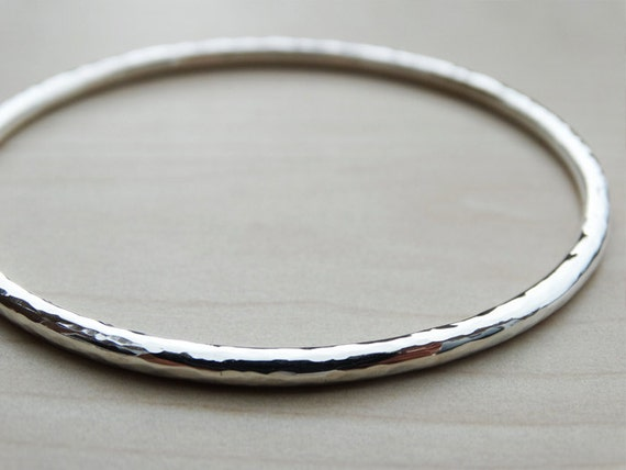 Hammered Solid Silver Bangle - Sterling Silver