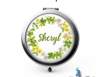 Personalized Compact Mirror Yellow White Meadow Flowers Floral Wreath Bridesmaid Gifts Cosmetic Mirror Custom Favors - The Sheryl