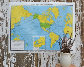 Vintage World US School Map - Large United States Nystrom History Poster Canvas Pulldown