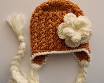 Baby earflap hat Crochet baby hat Mustard baby girl hat hat Baby girl hat Winter baby hat Crochet earflap hat Winter baby outfit