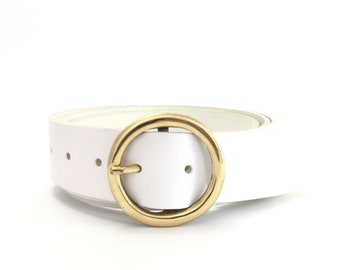 "White Gold Circle Leather Belt - 1"" 1/2 - Round Brass Buckle - Handmade UK - Womens Belt - Brass Belt - Gold Buckle - White Leather Belt"