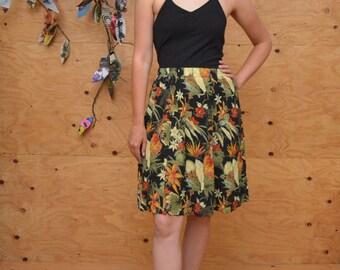 Vintage 80's Rayon Leaf Print Skirt In Safari Colors Black & Green Size S/M