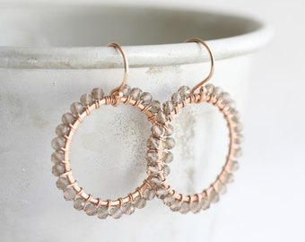 Rose gold earrings, Smoky quartz earrings, Hoop earrings with wire wrapped with tiny smoky quartz gemstones, Rose gold jewelry, Gift for her