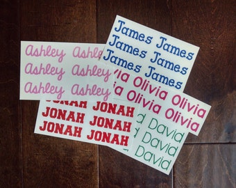 FREE SHIPPING - First Name Vinyl Decals (Set of 6) - Set of 6 Name Vinyl Decals