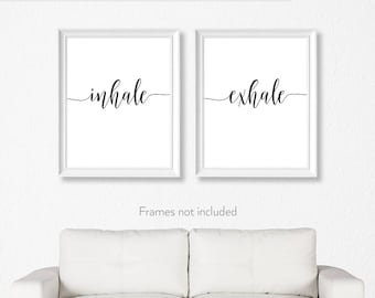 Yoga gifts women / Yoga gifts wife / Inhale Exhale art / Inhale exhale print / Breathe print /