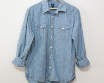 Vintage Men's Size L Long Sleeve Denim Shirt Two Tabbed Pockets GAP Shirt Tomboy Shirt Boyfriend Shirt See Details
