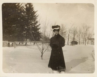 vintage photo snapshot FAshion Woman Big Hat Snow Fur Muff in Winter Coat 1908 Maine