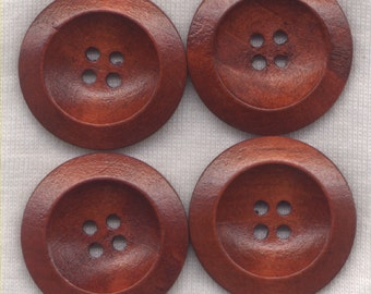 Rusty Red Buttons Classic Wooden Buttons Rusty Brown 30mm (1 1/4 inch) Set of 8 /BT398