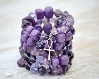 Purple Ankh Bracelet, Amethyst and Jade Bracelet, Memory Wire Bracelet, Purple and Lavender Crystal Jewelry, Wrap Bracelet with Silver Ankh