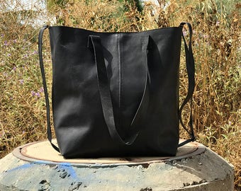 Sale!!! Black Leather Tote - Sturdy Leather Bag, Handmade shopper leather tote bag