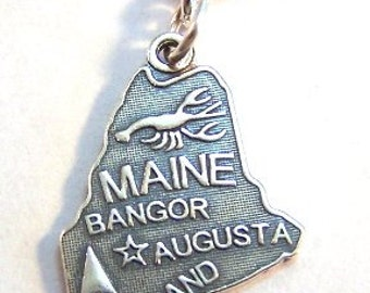 Silver State of Maine Charm-Fits European and Traditional Charm Bracelets - 1152