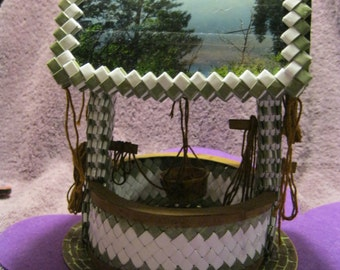 WOVEN WISHING WELL  Olive Green