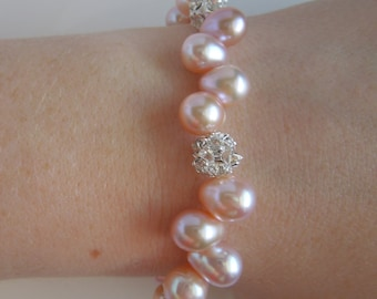 Light Pink Freshwater Pearl and Rhinestones Bracelet Sterling Silver Blush