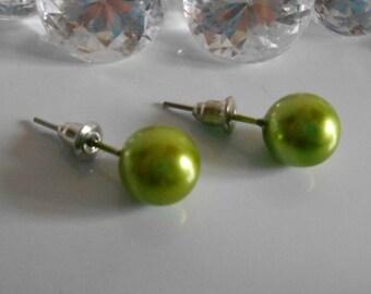 Khaki green bead 10 mm chips wedding earrings