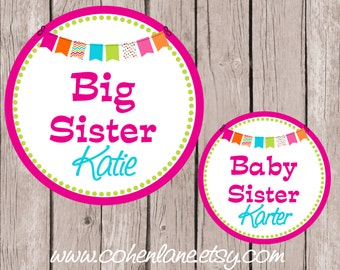 Printable Personalized Big Sister and Baby Sister Iron On Tshirt Transfer Design.  Sibling Iron Ons. Big Sister Iron On. Baby Sister Iron On
