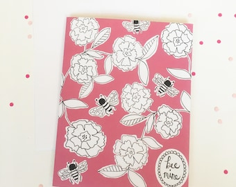 Bee Mine Bumblebee Floral Valentine's Day Card