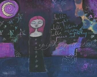 "Fine Art Print - ""Moon and Stars"" 9"" x 12"" - Divine Feminine, Playful Colorful Night, Crescent Waning Moon, Neon Pink Hair, Mystical Girl"