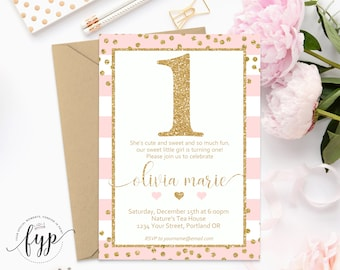 Pink and Gold 1st Birthday Invitation, First Birthday Invitation, Girls 1st Birthday Invite, Girl Birthday Invitation, Gold Glitter Invite