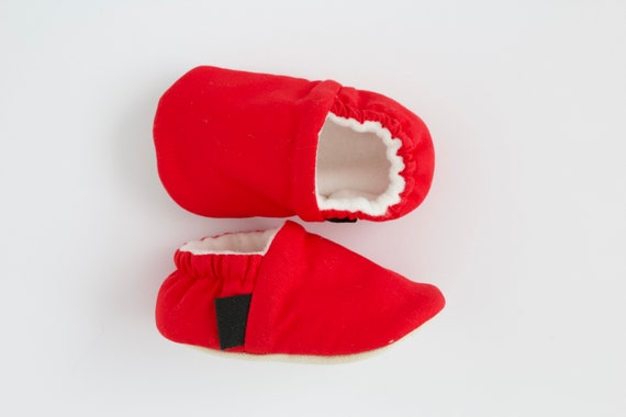 Bright red cotton baby moccs unisex