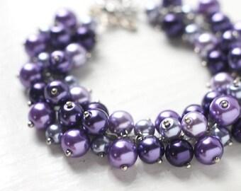 Purple Wedding Bridesmaids Jewelry, Pearl Cluster Bracelet - Purple Seduction
