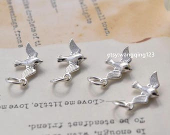 4 sterling silver tiny bird charms pendants