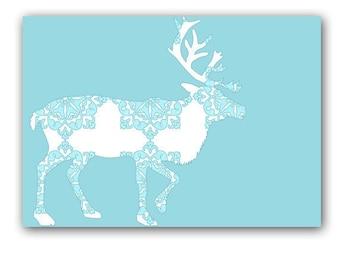 Blue Damask Reindeer -  Kids Art Prints, damask designs, blue color,  Kids Art Prints, reindeer, nursery decor, blue deer