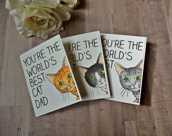 World's Best Cat Dad or Cat Mom Card - Funny Mothers Day Father's Day - Cat - Cat Lovers Gift - Dad Birthday Card - Greeting Cards