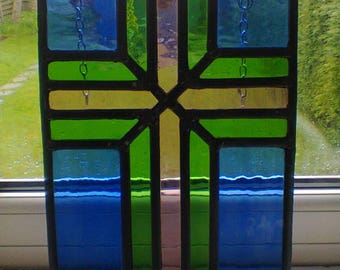 Celtic influenced cross - leaded glass panel