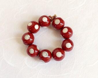 Set glass beads Lampworkperlen handmade lampwork glass beads red brown dots handmade