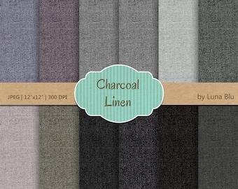 "Linen Digital Paper: ""Charcoal Linen"" gray textures, linen backgrounds for scrapbooking, invites, cardmaking,  linen canvas textures"
