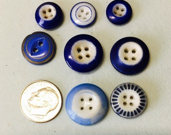 8 Vintage blue calico glass buttons