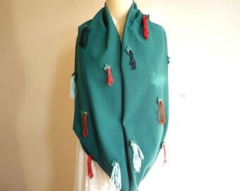 Emerald Green Infinity Scarf/Spring/Fall /Winter Scarf with Leather Flowers