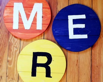 NYC Subway Inspired Monogram Reclaimed Wood Round Letter