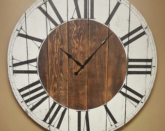 "The ""Abigail"" Farmhouse wall clock - Oversized wall clock - farmhouse decor  - large clock - big clock -"