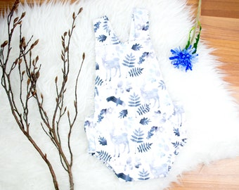 Baby Summer Romper * Watercolor Woodland Blue *