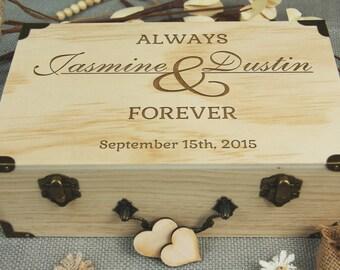 Custom Wedding Box, Guest Book Alternative, Personalized Wooden Box, Rustic Wedding, Keepsake Box, Wedding/ Bridal Shower/ Anniversary Gift