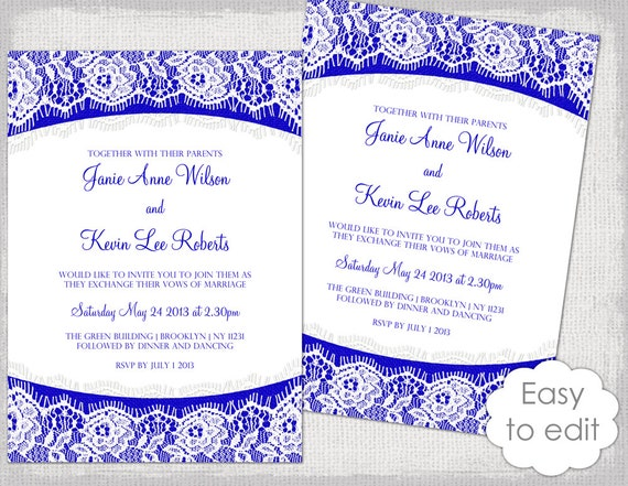 Wedding Invitation Designs Royal Blue: Lace Wedding Invitation Template Royal Blue Linen